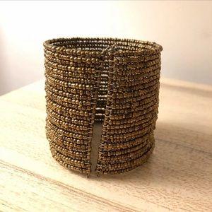 Anthropologie Bronze beaded cuff bracelet